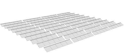 Kollektorfeld einer solaren Großanlage im Freiland