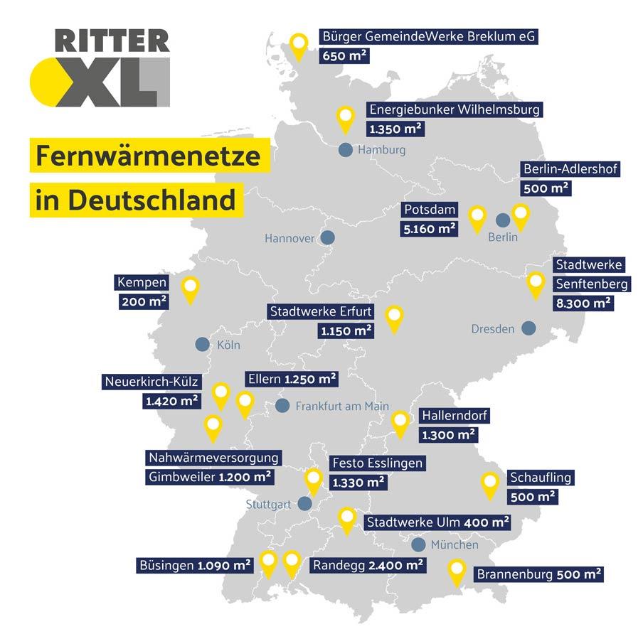 Karte mit solaren Fernwärmenetzen in Deutschland