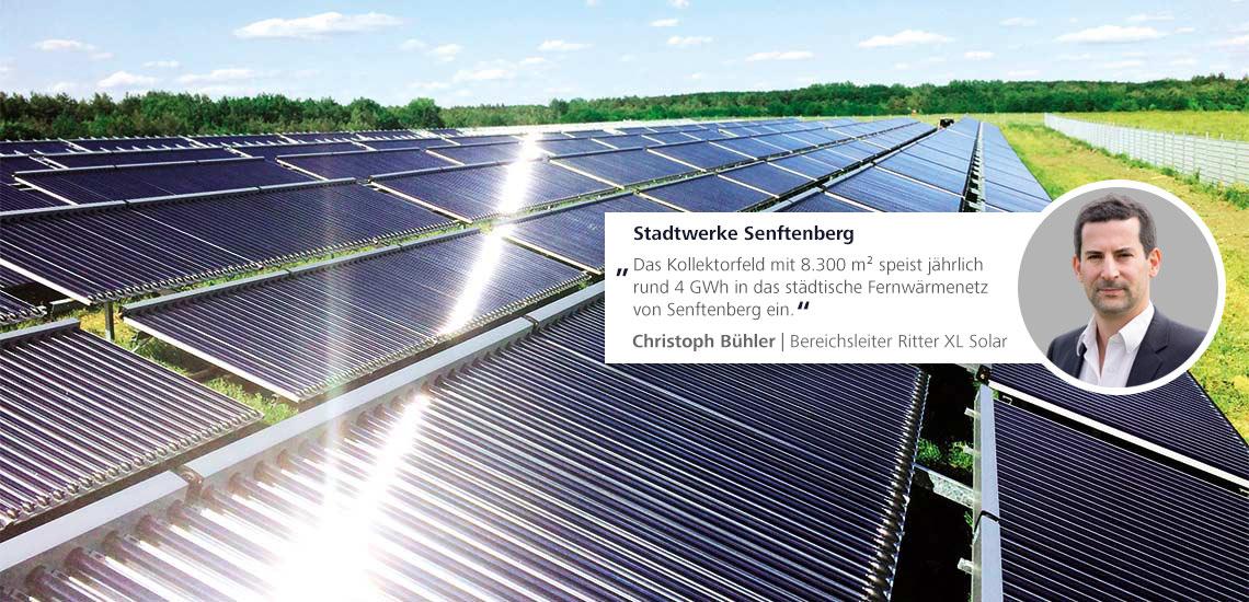 Solare Großanlagen für Wärmenetze Heizen und Warmwasser